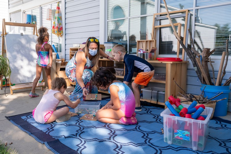 """Redesigned outdoor learning spaces at UD's Early Learning Center keep children in """"pods"""" to minimize the risk of spreading coronavirus"""